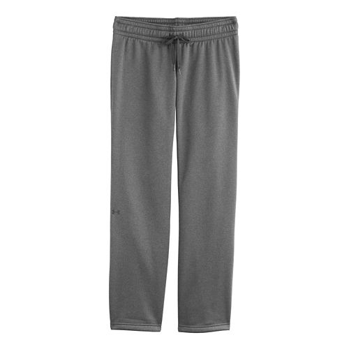 Womens Under Armour Fleece Full Length Pants - Carbon Heather L