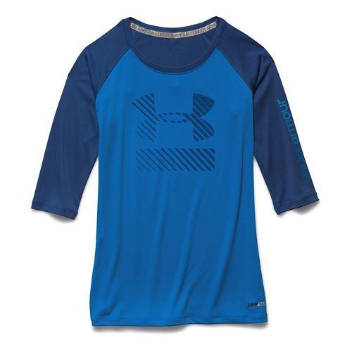 Kids Under Armour UPF 3/4 Sleeve Tee Long Sleeve No Zip Technical Tops - Snorkel/Evening ...