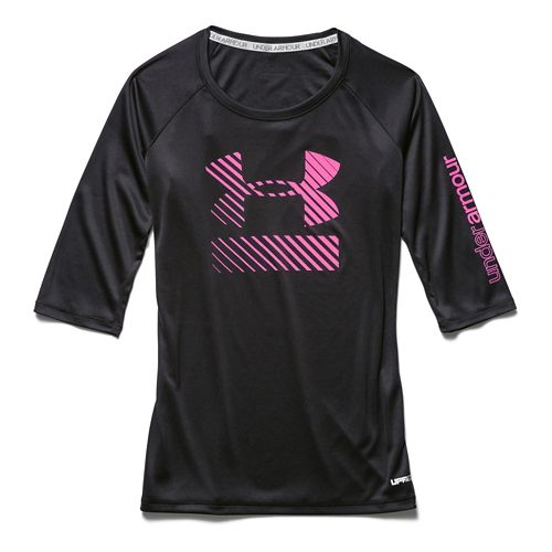 Kids Under Armour UPF 3/4 Sleeve Tee Long Sleeve No Zip Technical Tops - Bloom/Mosaic ...