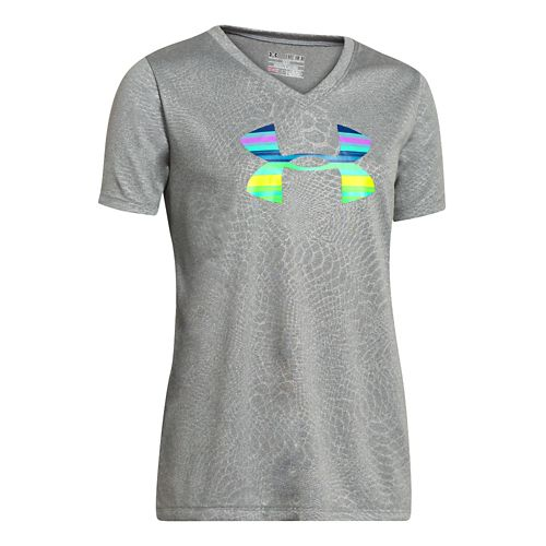 Under Armour Girls Big Logo Tech Novelty V-Neck Short Sleeve Technical Tops - True Gray Heather YM
