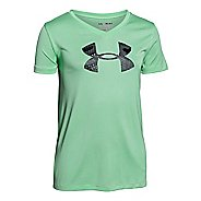 Kids Under Armour Big Logo Tech Novelty V-Neck Short Sleeve Technical Tops