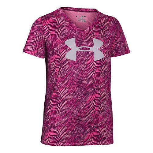 Under Armour Girls Big Logo Tech Novelty V-Neck Short Sleeve Technical Tops - Beet YM ...