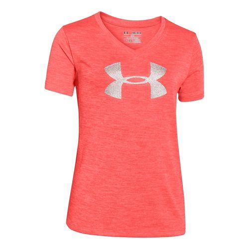 Under Armour Girls Big Logo Tech Novelty V-Neck Short Sleeve Technical Tops - After Burn ...