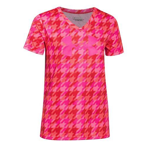 Under Armour Girls Big Logo Tech Novelty V-Neck Short Sleeve Technical Tops - After Burn/Pink ...