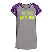 Kids Under Armour Branded Raglan Short Sleeve Technical Tops