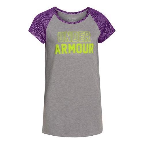 Kids Under Armour Branded Raglan Short Sleeve Technical Tops - Velocity/Gray YL