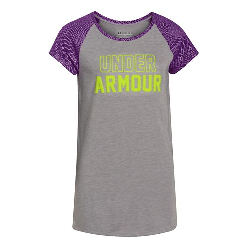 Kids Under Armour Branded Raglan Short Sleeve Technical Tops - Velocity/Gray YS