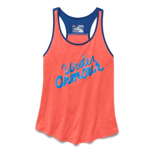 Kids Under Armour Branded Tank Technical Tops - After Burn/Evening YM