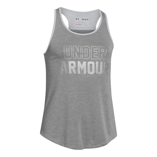 Kids Under Armour Branded Tank Technical Tops - Silver/After Burn YXS