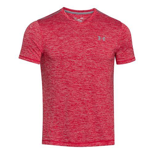 Mens Under Armour Tech V-Neck Tee Short Sleeve Technical Tops - Red XXL