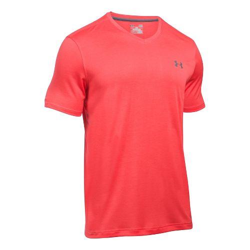 Mens Under Armour Tech V-Neck Tee Short Sleeve Technical Tops - Pomegranate M