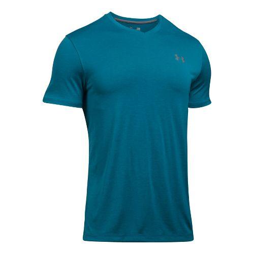 Mens Under Armour Tech V-Neck Tee Short Sleeve Technical Tops - Bayou Blue L