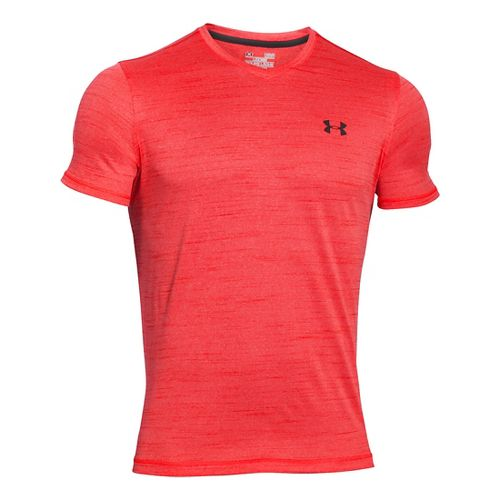 Mens Under Armour Tech V-Neck Tee Short Sleeve Technical Tops - Rocket Red S