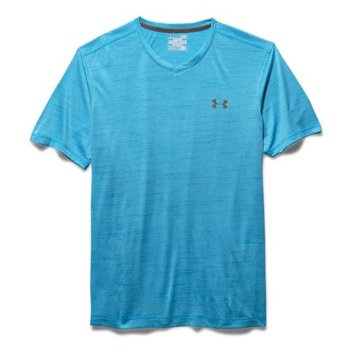 Mens Under Armour Tech V-Neck Tee Short Sleeve Technical Tops - Meridian Blue L