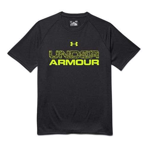 Mens Under Armour Core Wordmarked Fill 1 Tee Short Sleeve Technical Tops - Black S ...