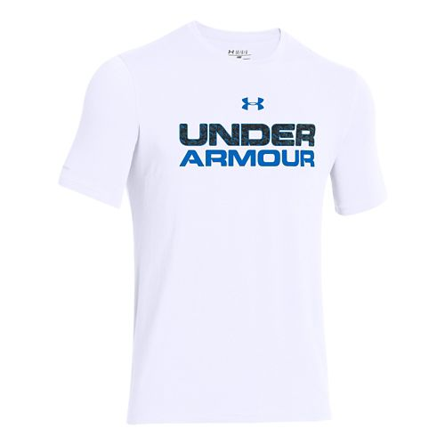 Mens Under Armour Core Wordmarked Fill 1 Tee Short Sleeve Technical Tops - White 3XL ...