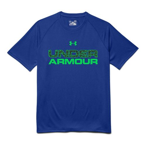 Mens Under Armour Core Wordmarked Fill 1 Tee Short Sleeve Technical Tops - Royal S ...