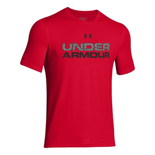 Mens Under Armour Core Wordmarked Fill 1 Tee Short Sleeve Technical Tops - Red M ...