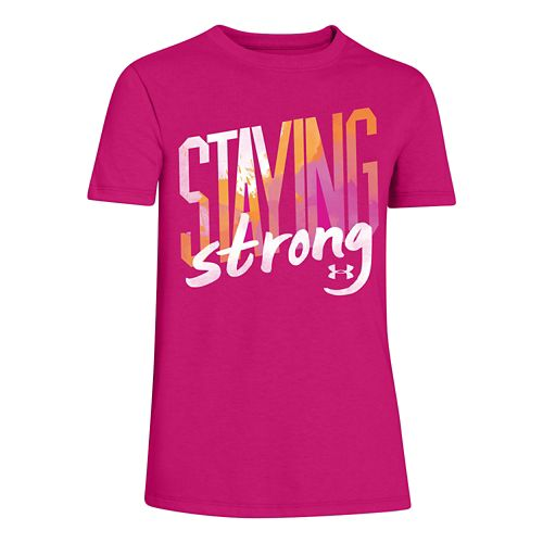 Kids Under Armour Staying Strong Crew Short Sleeve Technical Tops - Tropic Pink/Cabana YXL