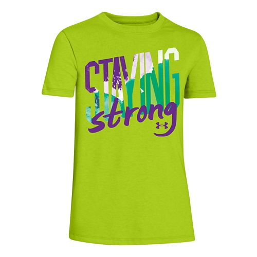 Kids Under Armour Staying Strong Crew Short Sleeve Technical Tops - Tropic Pink/Cabana YL