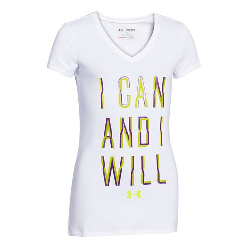 Kids Under Armour I Can and I Will V-Neck Short Sleeve Technical Tops - White/Crush ...