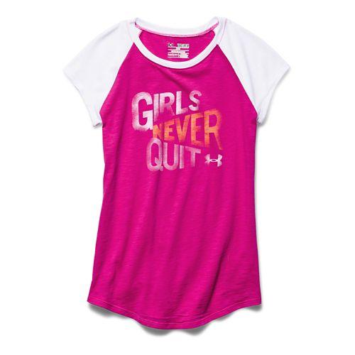 Kids Under Armour Never Quit Raglan Short Sleeve Non-Technical Tops - Tropic Pink/White YXS