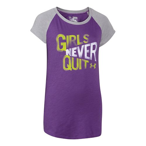 Kids Under Armour Never Quit Raglan Short Sleeve Non-Technical Tops - Tropic Pink/White YL