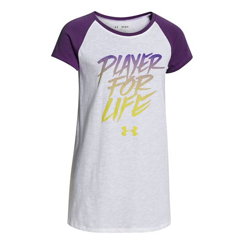 Kids Under Armour Player For Life Raglan Short Sleeve Non-Technical Tops - White/Crush YM