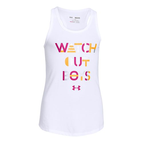 Kids Under Armour Watch Out Boys Tank Technical Tops - White/Cabana YS
