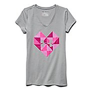 Kids Under Armour Valentines Day Geo Heart V-Neck Short Sleeve Technical Tops
