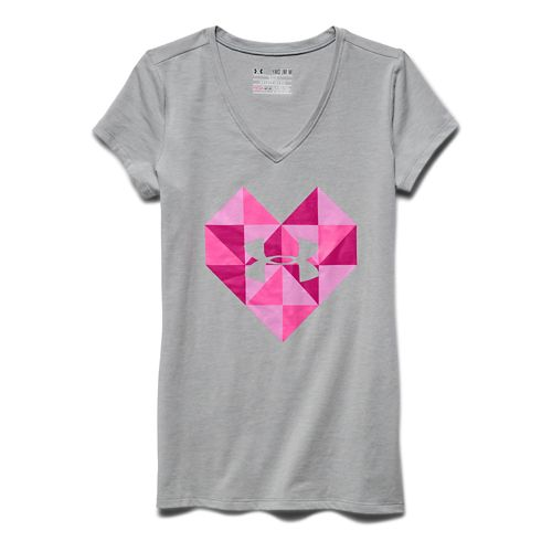 Kids Under Armour Valentines Day Geo Heart V-Neck Short Sleeve Technical Tops - Gray/Tropic ...