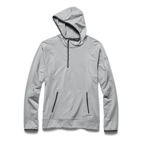 Mens Under Armour Forum Warm Up Hooded Jackets - True Gray Heather S