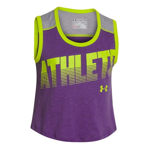 Kids Under Armour Muscle Tank Non-Technical Tops - Crush/Gray YS