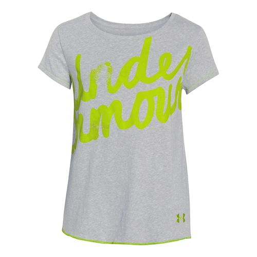 Kids Under Armour Layer Tee Short Sleeve Technical Tops - Carbon Heather YM