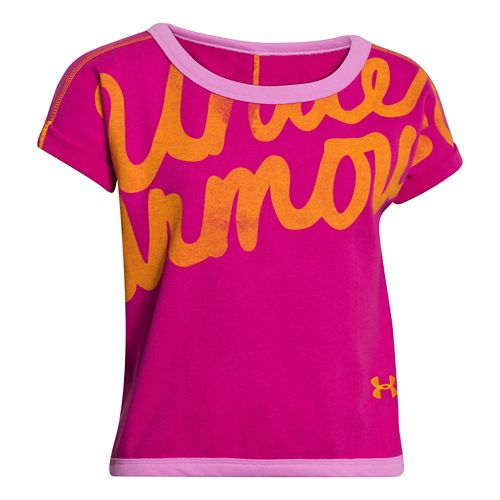 Kids Under Armour Cozy Crew Short Sleeve Technical Tops - Tropic Pink/Orchid YS
