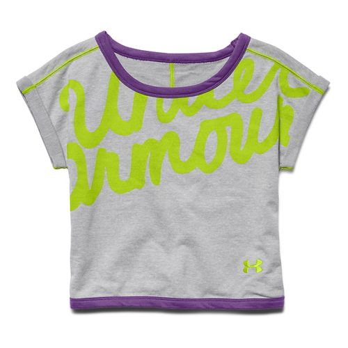 Kids Under Armour Cozy Crew Short Sleeve Technical Tops - Tropic Pink/Orchid YXS