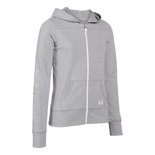 Kids Under Armour Downtown Hoody Jackets - Silver /Cabana YL