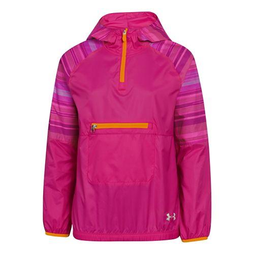 Kids Under Armour Popover Rain Shell Long Sleeve Half Zip Technical Tops - Tropic Pink/Cabana ...