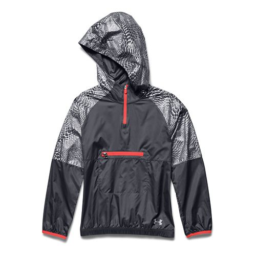 Kids Under Armour Popover Rain Shell Long Sleeve Half Zip Technical Tops - Lead/After Burn ...