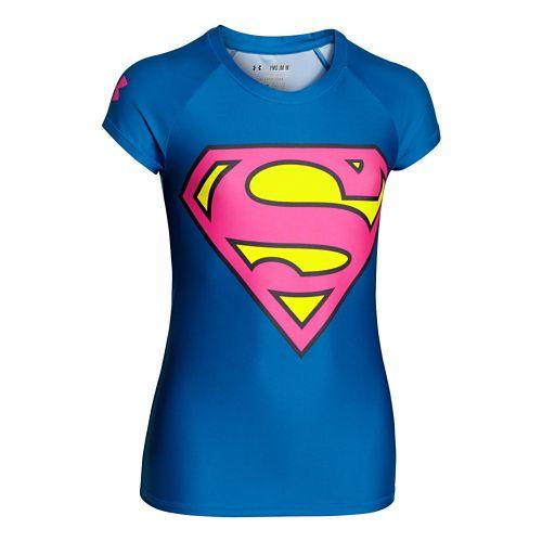 Kids Under Armour Alter Ego HeatGear Sonic SuperGirl T Short Sleeve Technical Tops - ...