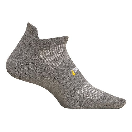 Feetures High Performance Ultra Light No Show Tab Socks - Heather Grey L