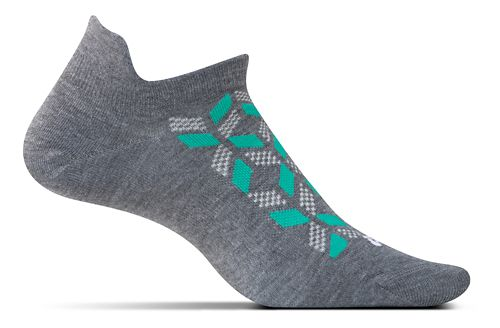 Feetures High Performance Ultra Light No Show Tab Socks - Heather Grey Print M