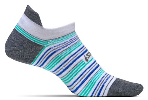 Feetures High Performance Ultra Light No Show Tab Socks - Heather Grey Stripe M