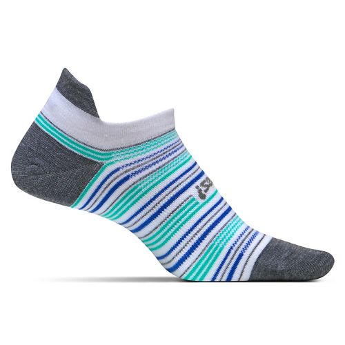Feetures High Performance Ultra Light No Show Tab Socks - Heather Grey Stripe M