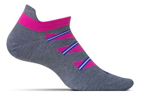 Feetures High Performance Ultra Light No Show Tab Socks - Heather Grey Pattern M