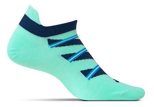Feetures High Performance Ultra Light No Show Tab Socks - Mint Pattern M