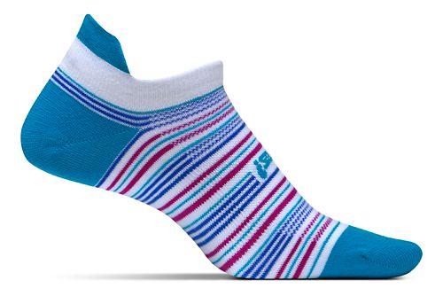 Feetures High Performance Ultra Light No Show Tab Socks - Hawaiian Stripe M