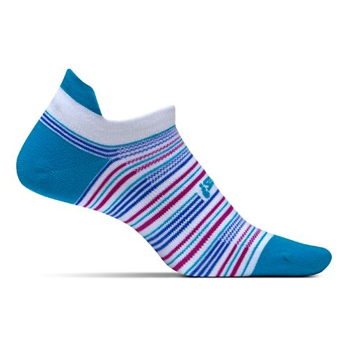 Feetures High Performance Ultra Light No Show Tab Socks - Hawaiian Stripe M