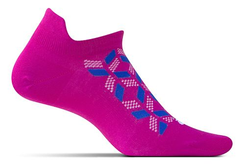 Feetures High Performance Ultra Light No Show Tab Socks - Berry Print M