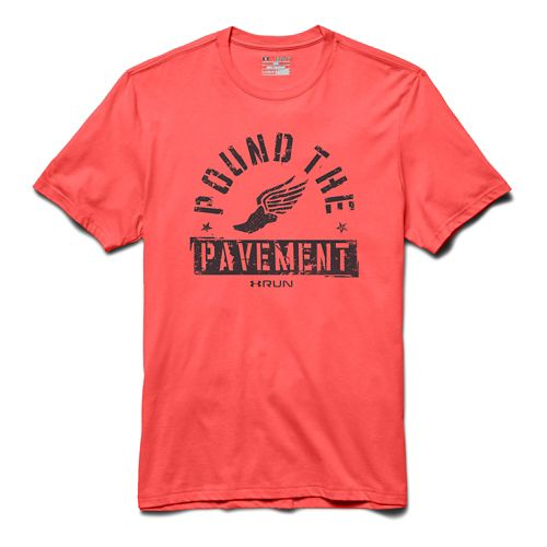 Mens Under Armour Pound the Pavement Tee Short Sleeve Technical Tops - After Burn/Black 3XL ...